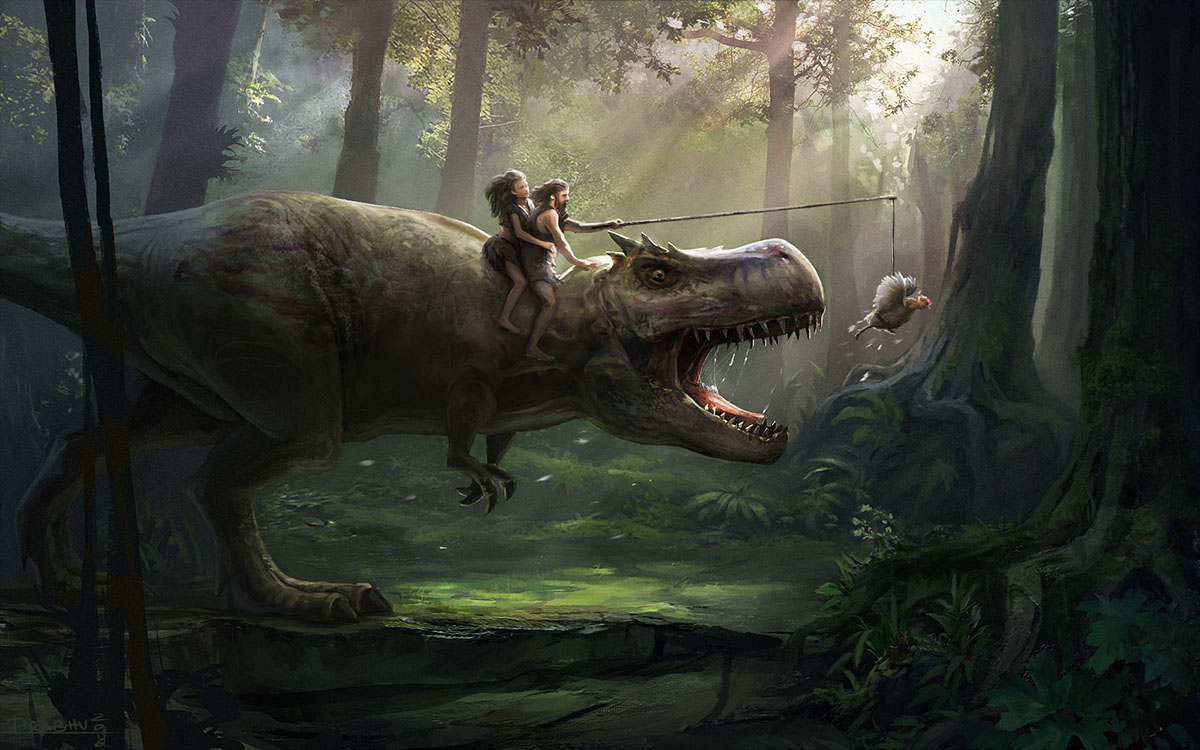 adam eve and a t. rex