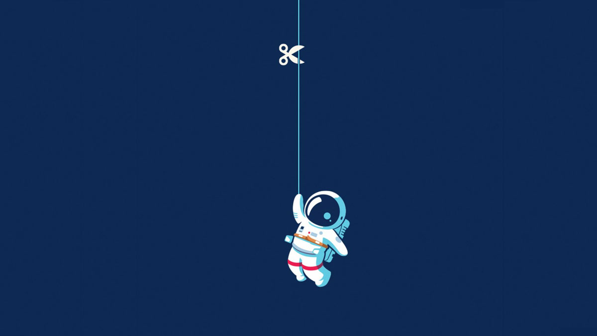 astronaut hanging by thread
