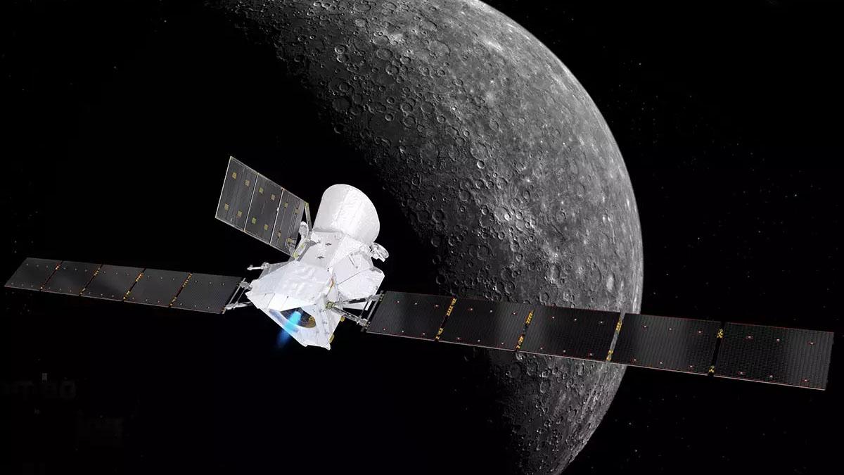 BepiColombo spacecraft orbiting Mercury