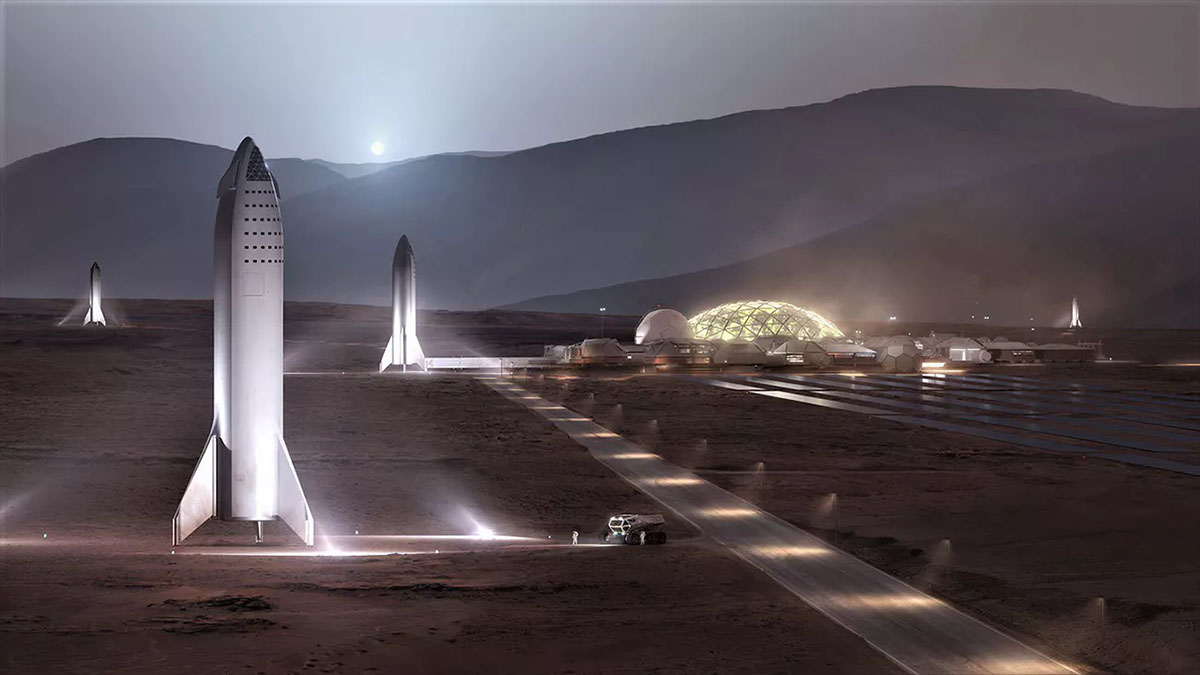 Crewed BFR modules in landing/launch zones next to a Martian colony SpaceX
