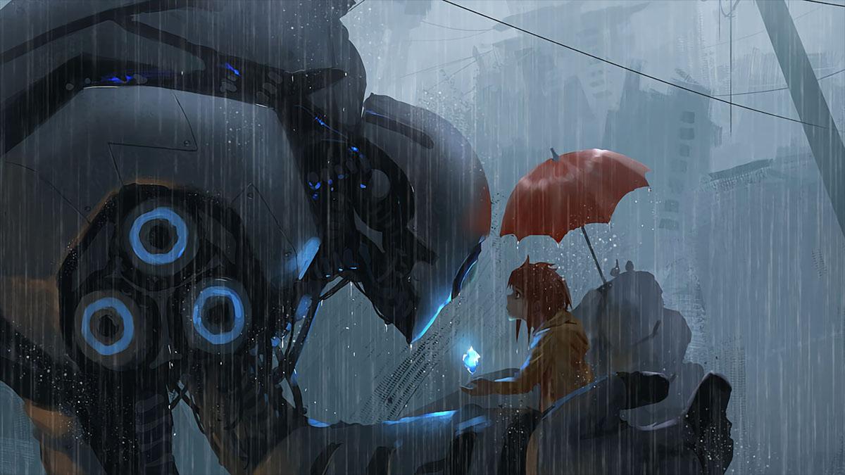 big mecha and human in rain