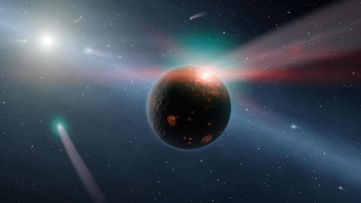 comets bombarding planet