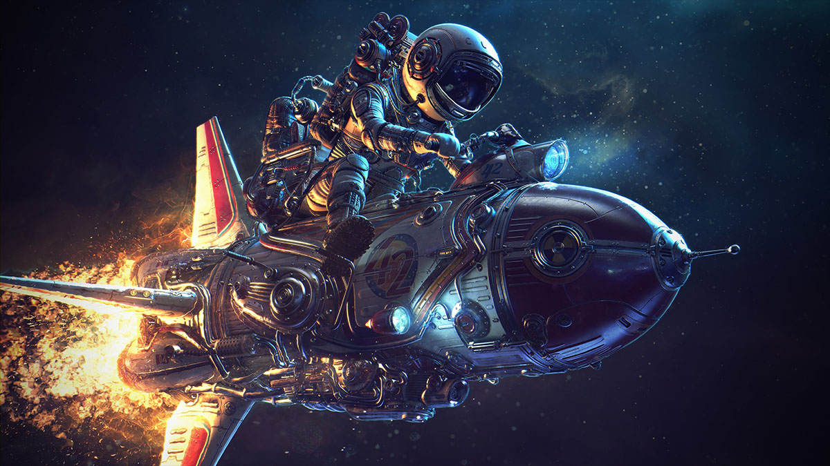 cosmonaut riding rocket