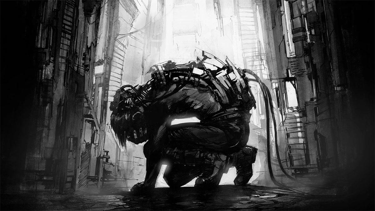 crouching cyborg