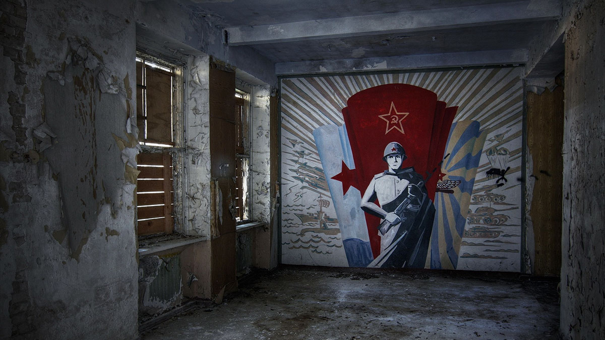 crumbling soviet mural