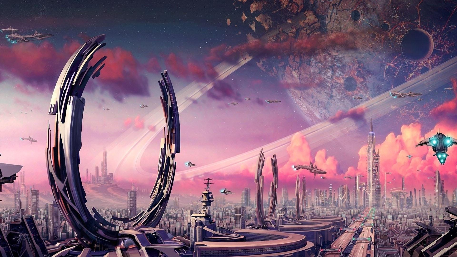 distant alien city