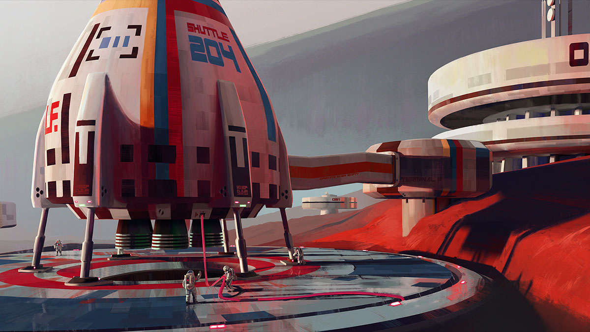 fueling shuttle at outpost