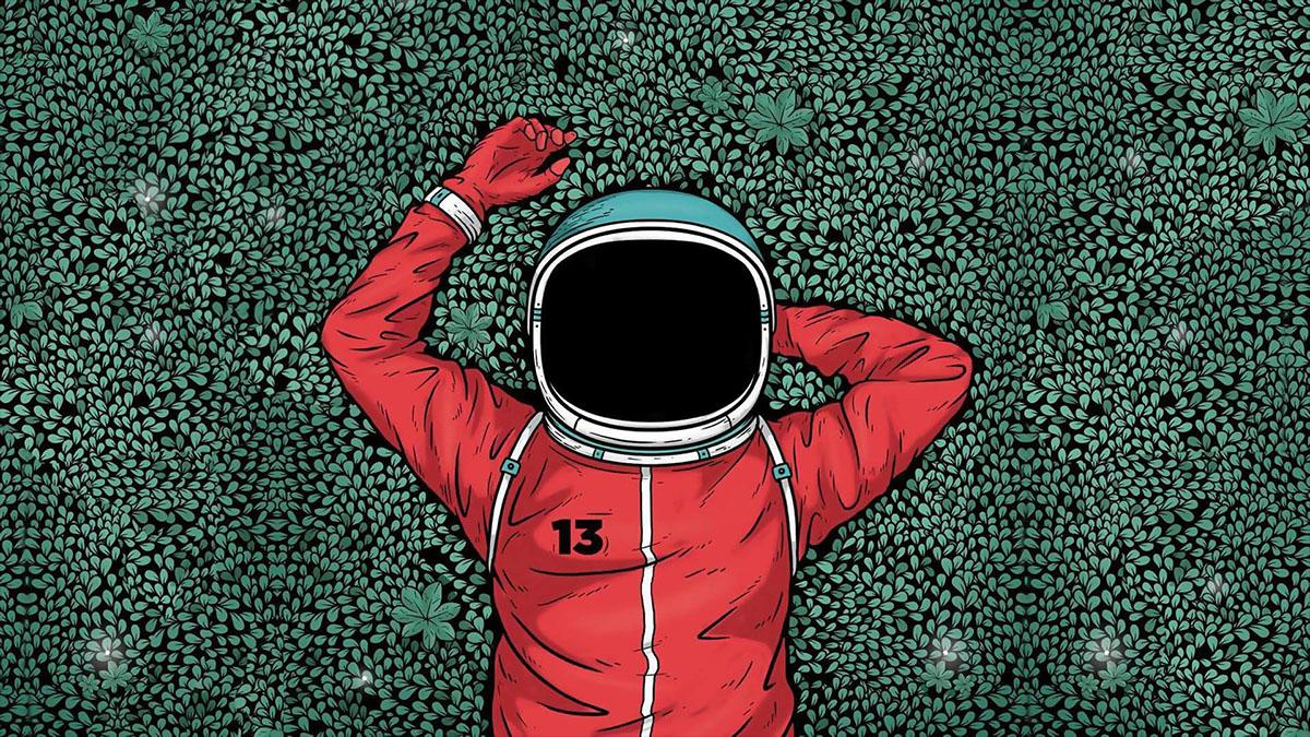 lounging astronaut