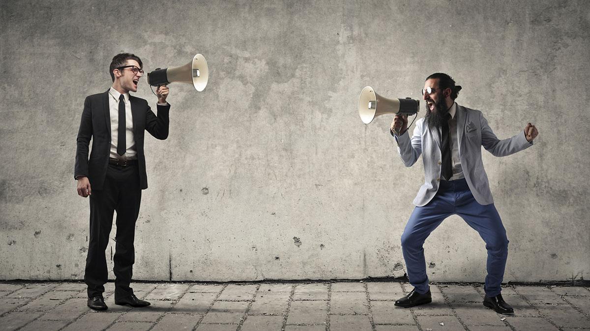 megaphone shouting match