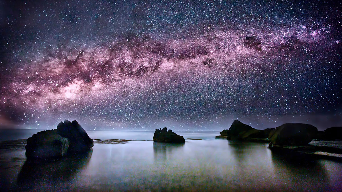 milky way view from beach