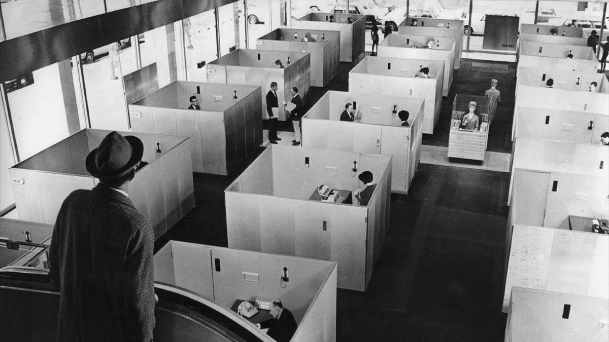 monochrome office 1960s
