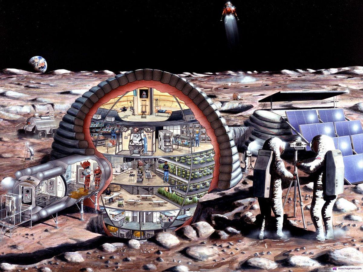moon base retro sketch cutaway