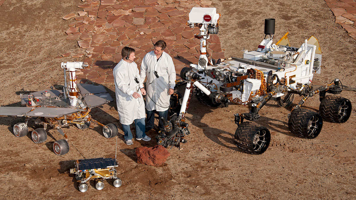 mockups of nasa's martian rovers