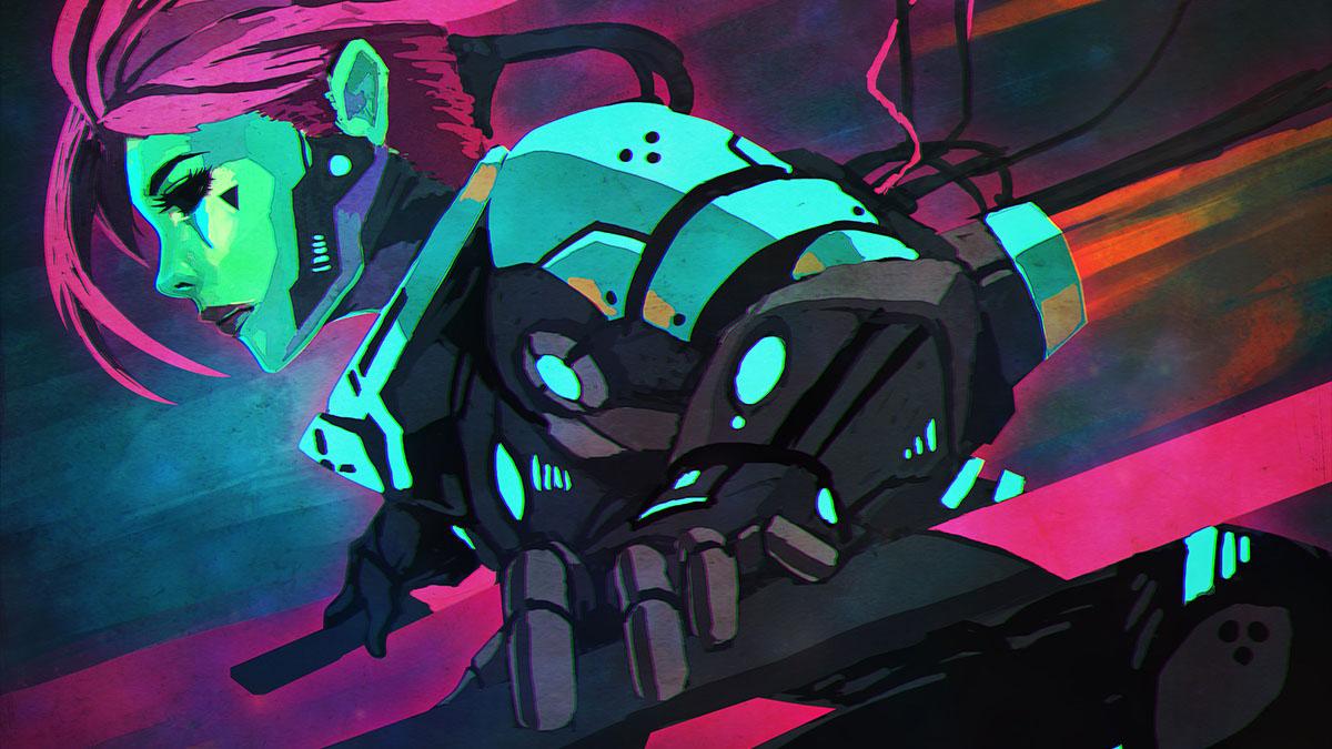 neon cyberpunk woman