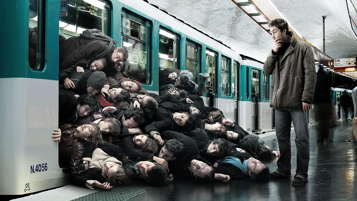 overcrowded subway