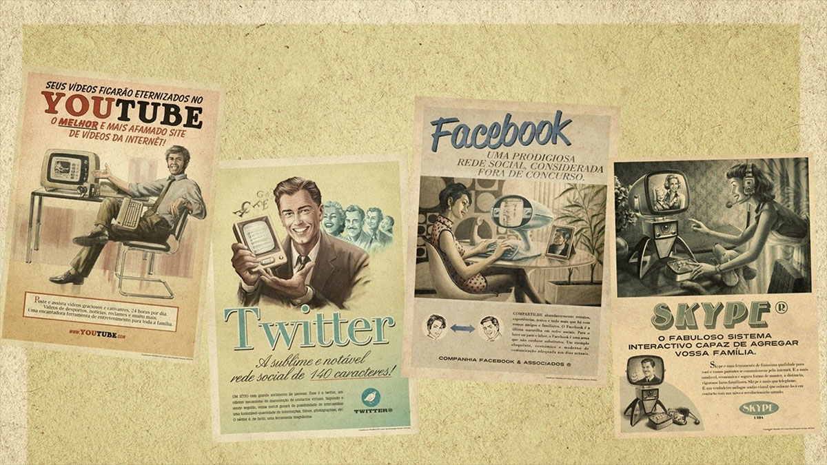 retro social media posters