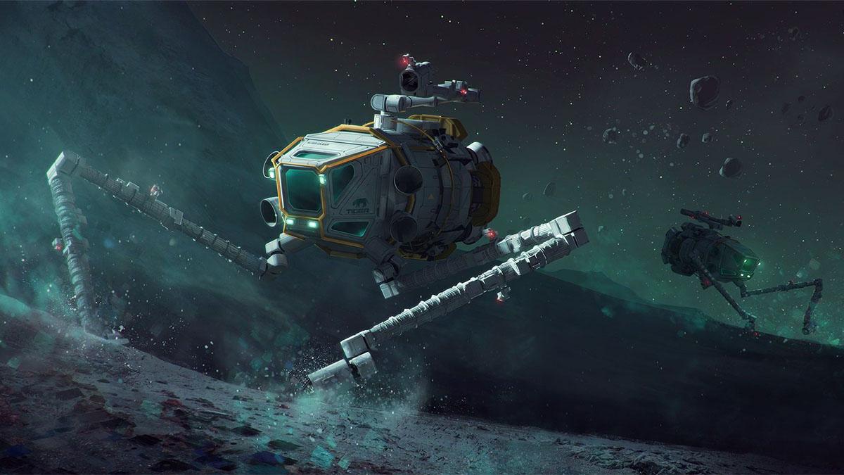 robots mining asteroid