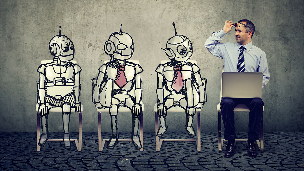 robots waiting for job interview