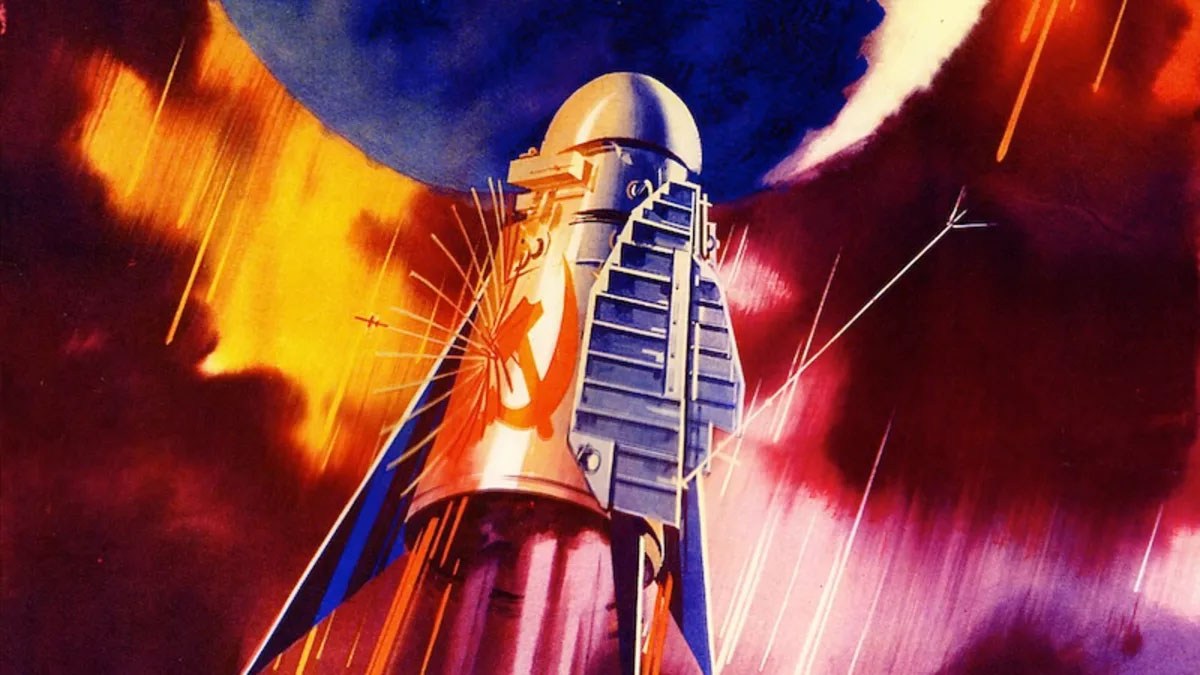 soviet rocket from propaganda poster