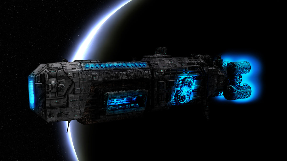 spaceship with antimatter engines