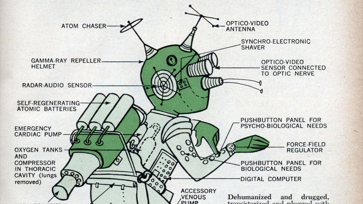 behold the (terrifyingly badly designed) cyborg of the 1960s