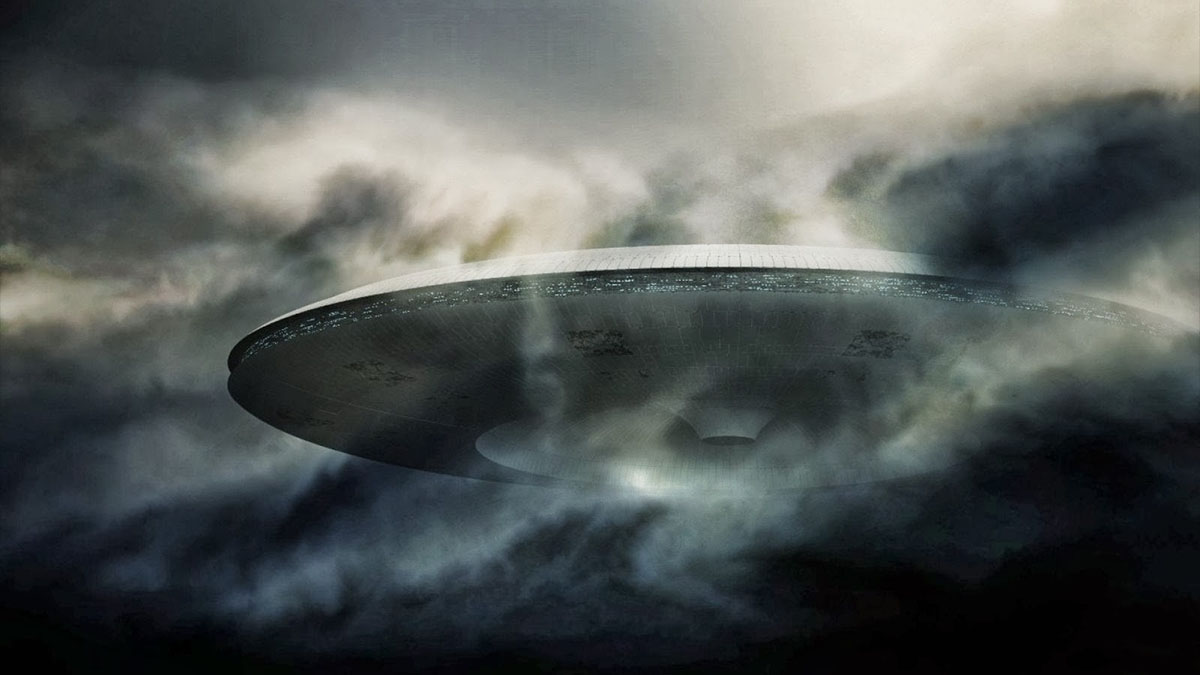 ufo in clouds