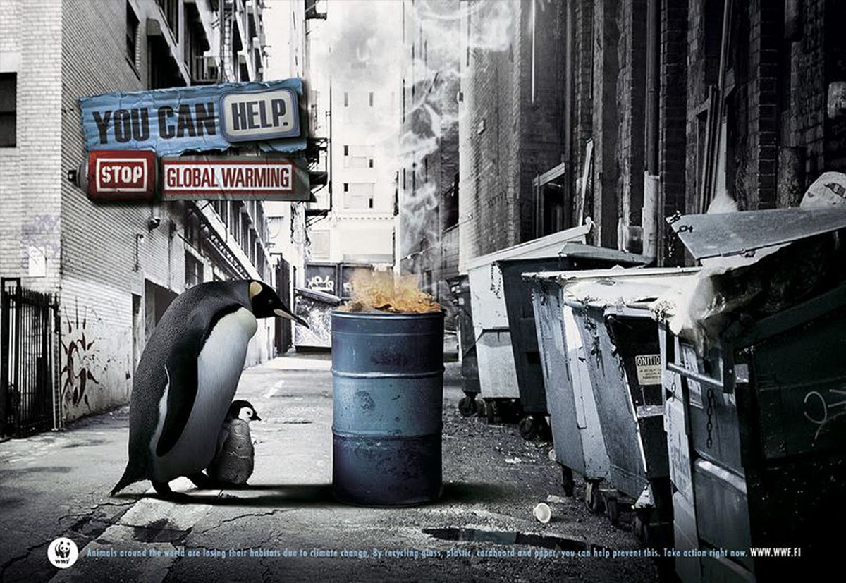 wwf global warming poster penguins